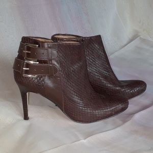 """Ann Taylor Brown """"Snakeskin"""" Ankle Boots"""